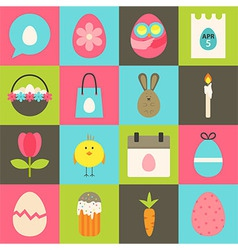 Easter flat stylized icon set 2 vector