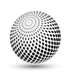 halftone effect sphere in black and white vector image vector image