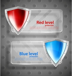 Set of banner with shields vector image