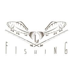Vintage fishing Label vector image