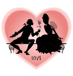 Vintage silhouettes on a bench vector image vector image