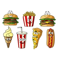 Fast food isolated cartoon characters vector image vector image