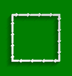 arrow on a square shape paper whitish vector image vector image