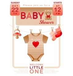 Baby shower unisex invitation design for boy or vector image vector image