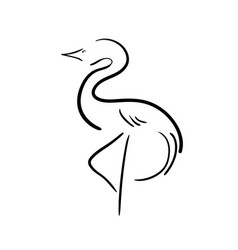 black stylized stork on a white background vector image vector image