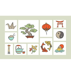 Chinese hand drawn icon set vector image