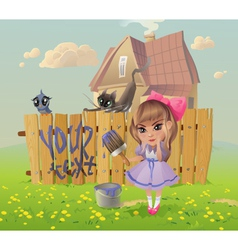 Girl writes on the Fence vector image vector image