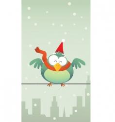 green bird with Santa hat vector image vector image