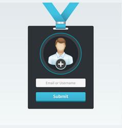 login form in badge vector image