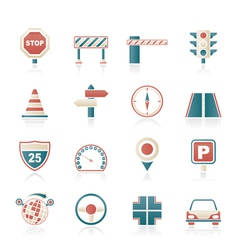 Road and Traffic Icons vector image