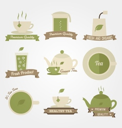 Tea flat and vintage label design vector image vector image