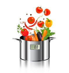 Vegetables falling into a pot Healthy and diet vector image