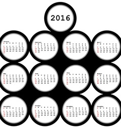 2016 black circles calendar for office vector
