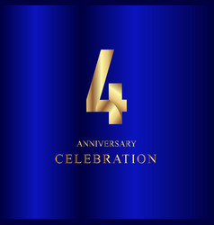 4 year anniversary celebration gold blue template vector image