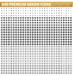 840 arrow icons black color simple vector