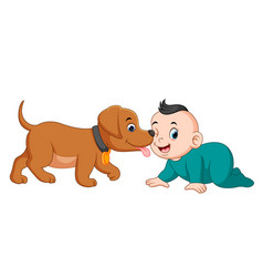 A baby playing with little dog vector