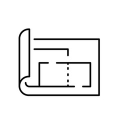 Apartment plan simple linear icon vector