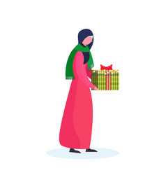 Arab woman traditional clothes holding gift box vector