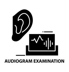 Audiogram examination icon black sign with vector