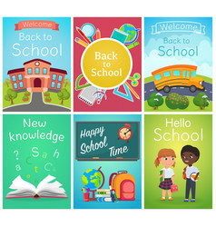 back to school card banner templates design vector image