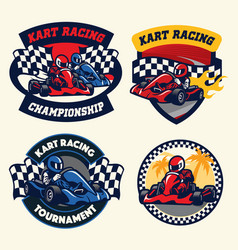 Badge design set of kart racing vector