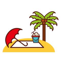 Beach umbrella bucket sand palm travel vacations vector