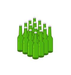beer bottles stack 3d vector image