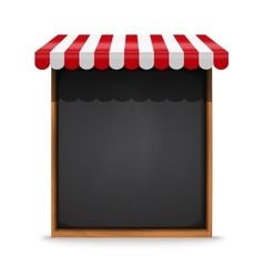 Black chalkboard frame with red awning vector