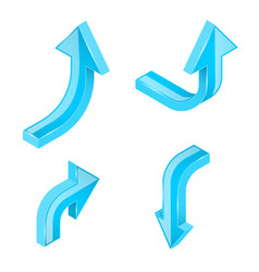 blue arrows 3d shiny signs vector image