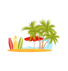 blue ocean wave and sandy beach with palm trees vector image