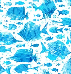 blue watercolor seamless fish pattern vector image