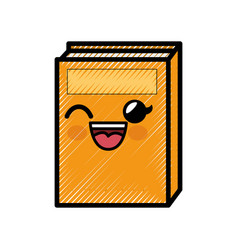 Book cartoon smiley vector
