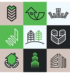 buildings logo icons vector image vector image