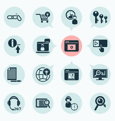 Business icons set with ecommerce solution vector
