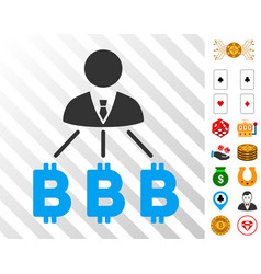 Businessman bitcoin expences icon with bonus vector