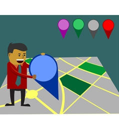 businessman moving map marker vector image