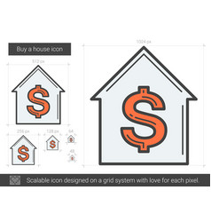 Buy a house line icon vector