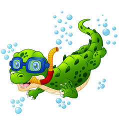 Cartoon crocodile diver vector