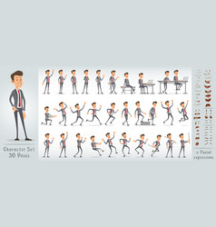 cartoon cute office boy character big set vector image