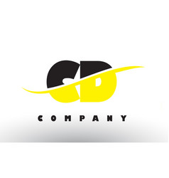 Cd c d black and yellow letter logo with swoosh vector
