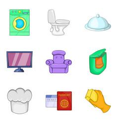 Coaching inn icons set cartoon style vector