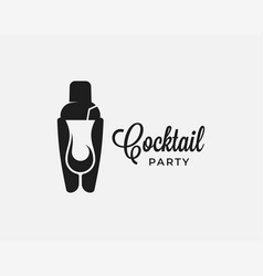 cocktail shaker with cocktail glass on white vector image