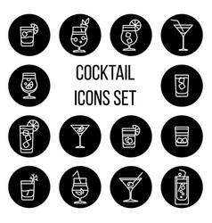 Cocktail thin line icons set in black and vector