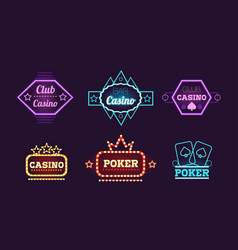 collection of neon signs casino bar poker club vector image
