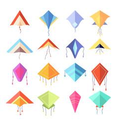 Color kite geometric forms rhombus cartoon vector