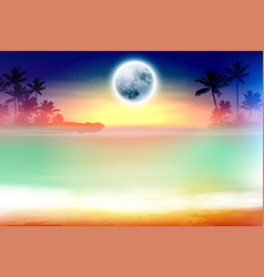 colorful beach with palm trees and full moon vector image