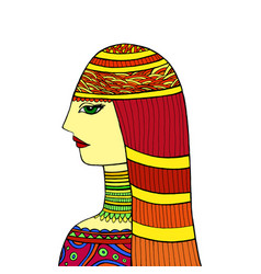 colorful oriental young woman doodle graphic vector image
