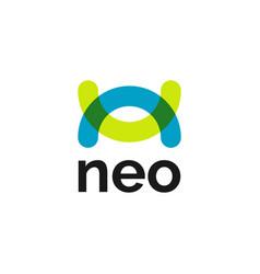 Creative letter n abstract vibrant logo symbol vector