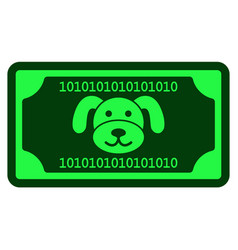 Crypto puppy banknote flat icon vector