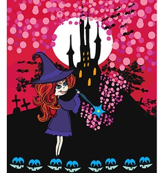 Cute cartoon of a witch vector image